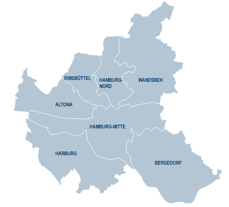 Map of Hamburg districts