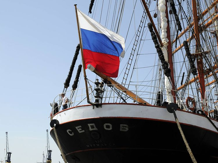 Russian sail training ship Sedov at Hamburg port
