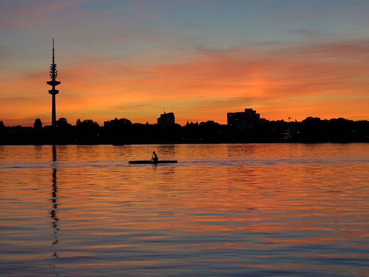 romantic, alster lake, hamburg, valentine, valentine's day, love