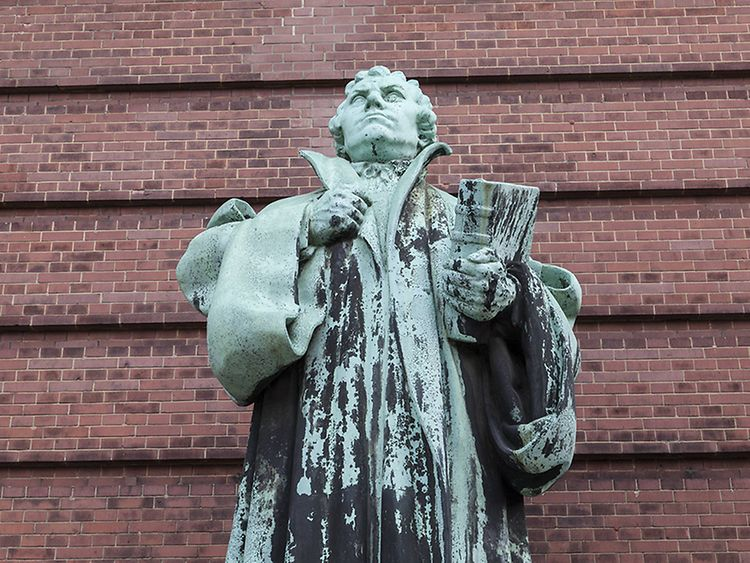 Martin Luther statue in Hamburg, Germany