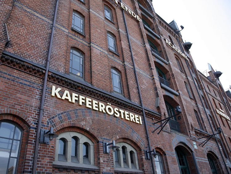 Entrance coffee roastery warehouse district Hamburg