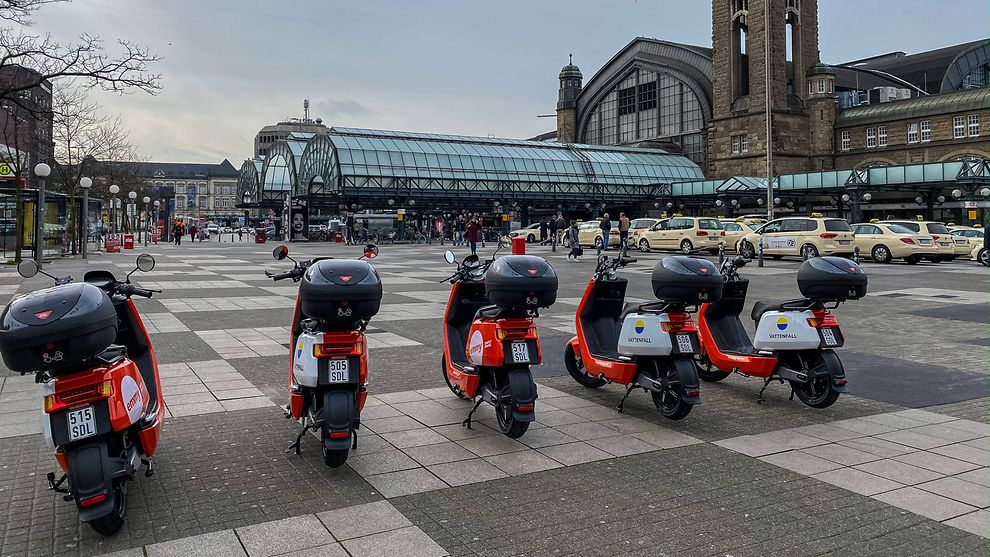 Symbolic image: Electric Scooters in Hamburg, Germany
