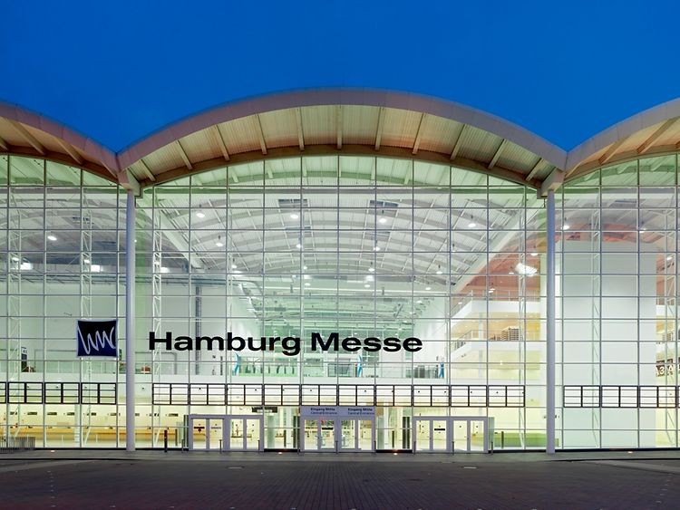 The main entrance of Hamburg's Messehallen convention centre