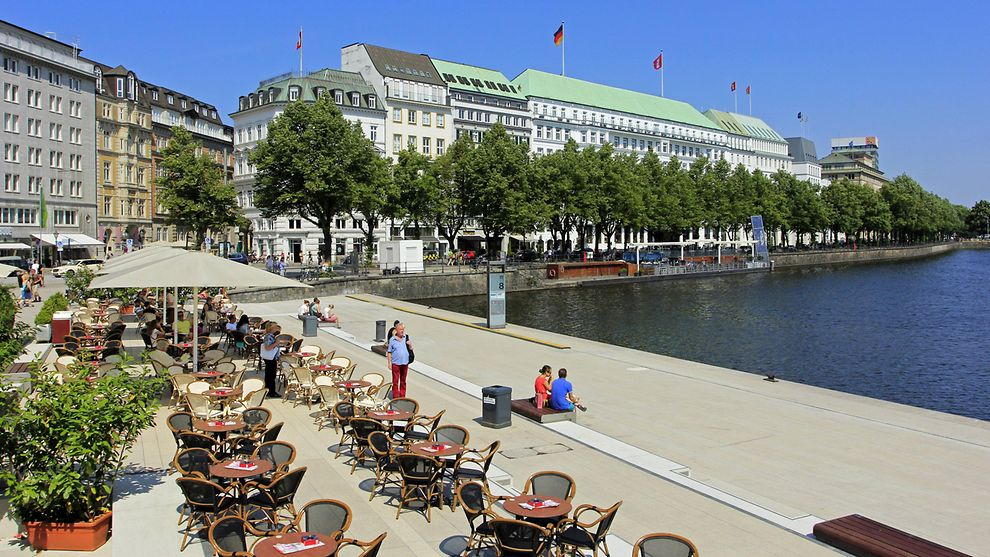 Outdoor tables along the Alster
