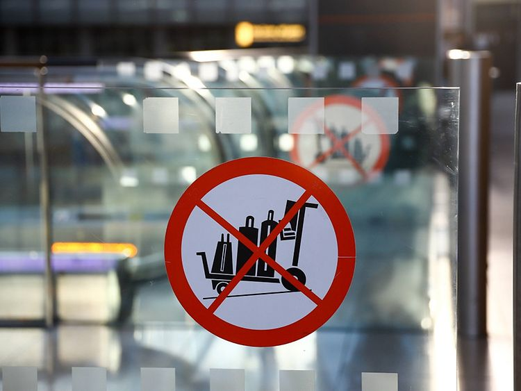 Travel carts prohibited sign at Hamburg International Airport